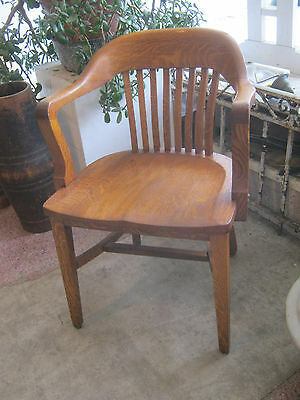 Antique Vintage Lawyers Banker Library Oak Desk Arm Chair Gunlocke/Sikes style