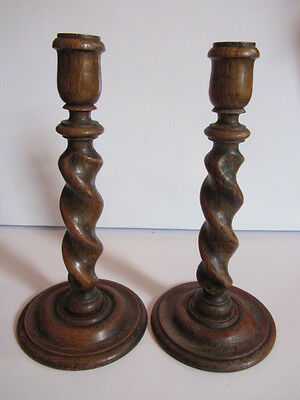 Victorian Oak Barley Twist Candlesticks Pair