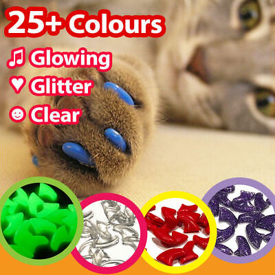 Cat Kitten Nail Covers Protect Scratching Furniture Post Soft Paws Rubber Caps
