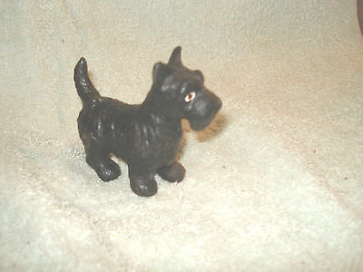 Small Cast Iron Black Scotty  Terrier Dog Statue Paperweight  2.75'' X 2.75''