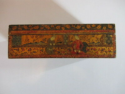 Antique Persian Qajar Wooden Painted Pictorial Box