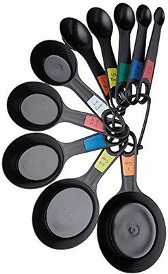 Kitchen Craft Plastic Measuring Cups and Spoons Set of 10 Black Lightweight NEW