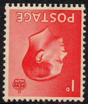 1936 Edward VIII 1d Scarlet Definitive Inverted Watermark SG458Wi Unmounted Mint