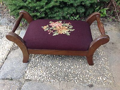 Victorian Foot Stool Parlor Bench Wooden Needlepoint