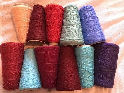 11x MACHINE KNITTING Yarn Cone 4ply Part Cones MIXED Colours 1.328 Kg (2)