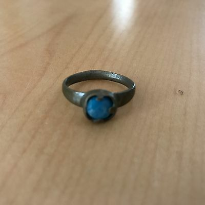 Ancient Bronze Age Ring Blue Stone Roman Ring Uncleaned