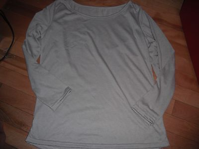 New! Womens Gray Small Layering Long Sleeve Tee Shirt Top S