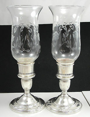 International Sterling Silver Pair Candleholder Etched Glass Globe Hollowware