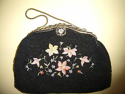Vintage Black Glass Beads, W/chain Stitched Flowers Purse, Hand Made In France