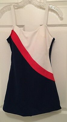 LOUISA BROOKS Vintage 70's Skirted Women's Red, White, Blue BATHING SUIT Size 16