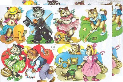 Chromo EF Découpis Chat 7139 Embossed Illustrations Cats