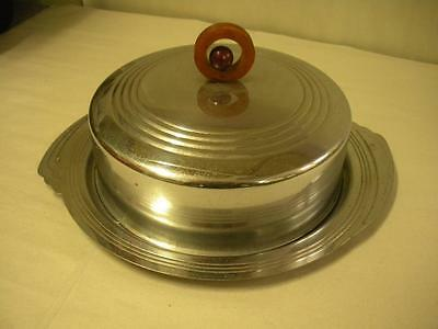 Art Deco Chrome Covered Cake or Cheese Plate with Round Bakelite Handle