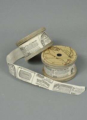 6 Mtrs Brown and Cream Vintage style printed Ribbon Newspaper Advert Design