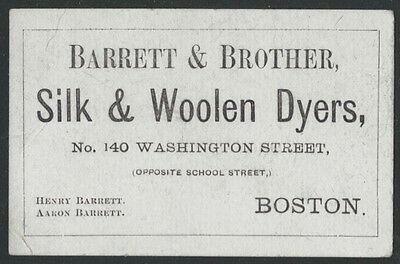 1860s Boston Silk & Woolen Dyers Card - Barrett & Brother