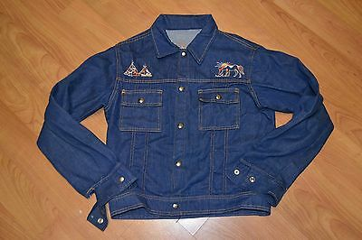 Vintage OG 70s Denim Snap Button Jacket Native Teepees Horses Youth Girls Cool