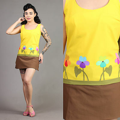 vtg YELLOW+FLORAL novelty print DEWEESE swimsuit bathing suit dress pinup 60s L
