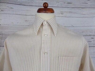 Vintage 1970s S-Sleeve Classic Styling Pinstripe Shirt Mod Disco -M- CH89