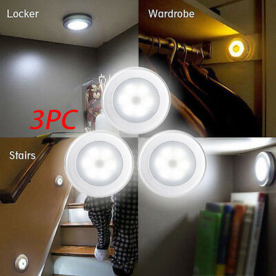 3PC 6 LED Light PIR Wireless Auto Sensor Motion Detector Cabinet Wall Night Lamp
