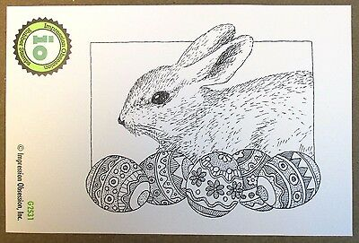 Impression Obsession IO Bunny With Eggs Cling Mounted Rubber Stamp G2531