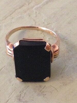 Vintage 10k yellow gold onyx  ring, size 6 1/2