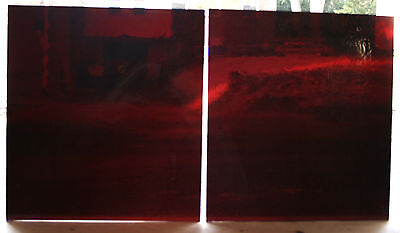 Hand Blown, Flashed Antique Stained Glass, Red over Blue,2 sheets,10x11, #1013