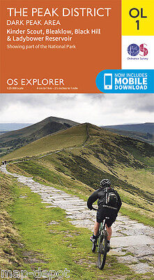 PEAK DISTRICT (Dark Peak Area) EXPLORER MAP - OL1 - OS Ordnance - inc. DOWNLOAD