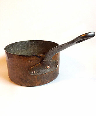 Vintage French hammered copper sauce pan Antique France tin lined