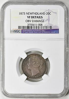 Newfoundland 1873 Silver 20 Cents NGC VF Details