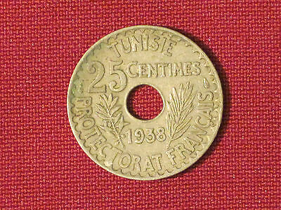 *** 1938  25 Centimes coin  /  Tunisia - Excellent example!