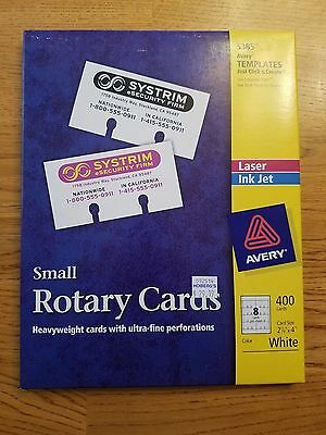 """Avery Small Rotary Cards 5385 2 1/6 """" x 4 """" Rolodex White Box of 400 Cards NEW"""