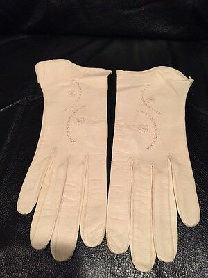 VINTAGE LEATHER KID GLOVES LADIES SIZE 6 3/4 IVORY New! MADE IN GERMANY