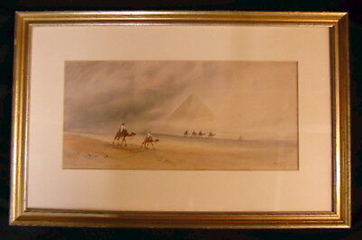 Signed Art Deco Egyptian Moroccan Desert Camels Pyramids Watercolor Painting