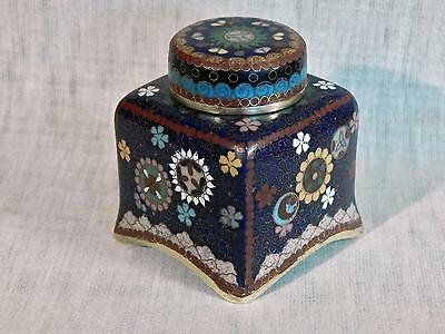 OLD Cloisonné Covered INKWELL Ink Pot  w/ Sun, Moon & Stars w/ Porcelain Insert