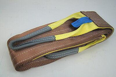 "6"" x 16' Brown Heavy Duty Nylon Sling Tow Recovery Strap 12,000 lbs Single Ply"