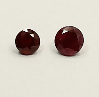 4 Mm & 4.7 Mm Round Cut  Ruby .97 Carats