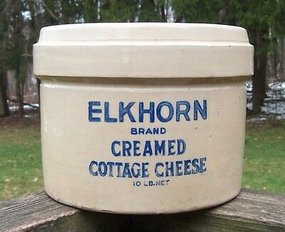 Antique Elkhorn Brand Creamed Cottage Cheese 10 Lb. Stoneware Pottery Crock