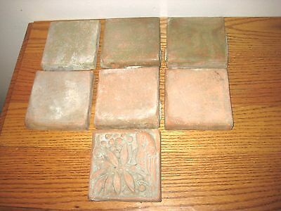 Antique / Vintge Lot Of 7 Batchelder Tiles 6=Field Tiles 1= Parrot Los Angeles