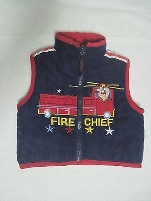 Baby Looney Tunes Puffy Vest 12 Months Fire Chief Fire Truck Navy Red Runs Large