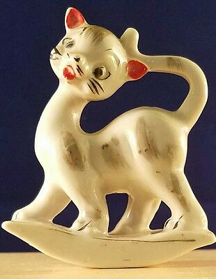 """Vintage Rocker Ceramic Cat Figurine Hand Painted - Made In Japan - 2.5"""" tall"""