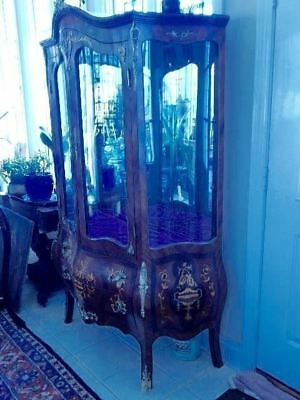 "French Rococo Vitrine Curio Display Mahogany Cabinet Solid Brass 77""H x 50"" W"
