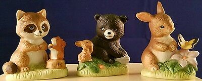 Set of 3 Bunny Raccoon Bear Figurines Homco Home Interior Baby Animals Sri Lanka