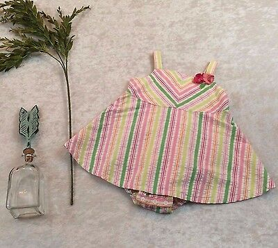 Gymboree Baby Girls 12 18M  Jumper Dress Attached bloomers Spring Summer Pink