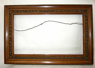 Lg Antique Victorian Carved Oak Comp Picture Frame Ivy Leaves Vines fits 20x12""
