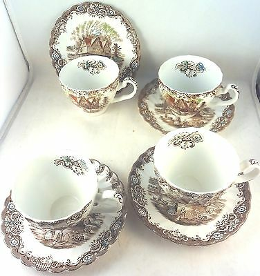 HERITAGE HALL JOHNSON BROTHERS CUPS & SAUCERS 4 Pair Brown Multicolor Bros 4411