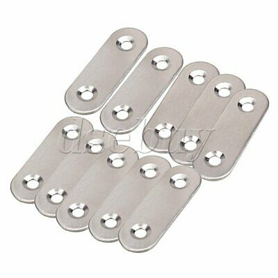 10PCS Stainless Steel 2 Holes Flat Corner Brace Plate Connector 47x15.5x5mm