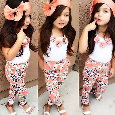 US Stock Summer Toddler Kids Girl Tops Floral Pants Headband Outfits 3Pcs Set