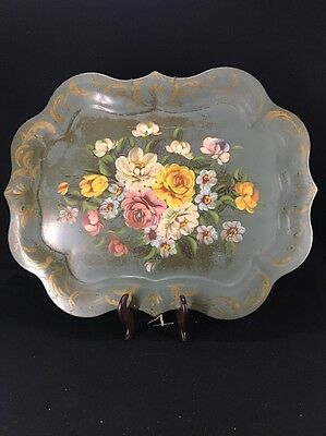 Large Hand-Painted Antique Metal Tray (lh366)