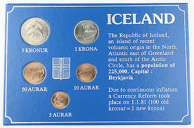 Iceland 1981 5 Coin Mint Set Uncirculated GEM BU