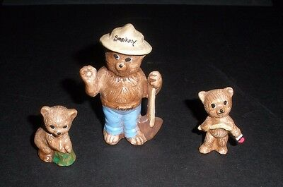 Smokey Bear Mini Ceramic Figurines-- Unusual    Hand Crafted--Beautiful!!  2004