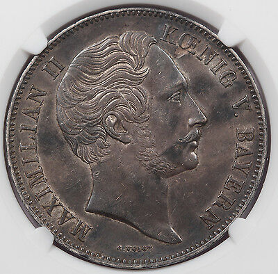 Germany Bavaria 1854 2 Thaler/Taler Silver Coin NGC AU58 KM-837 Almost UNC